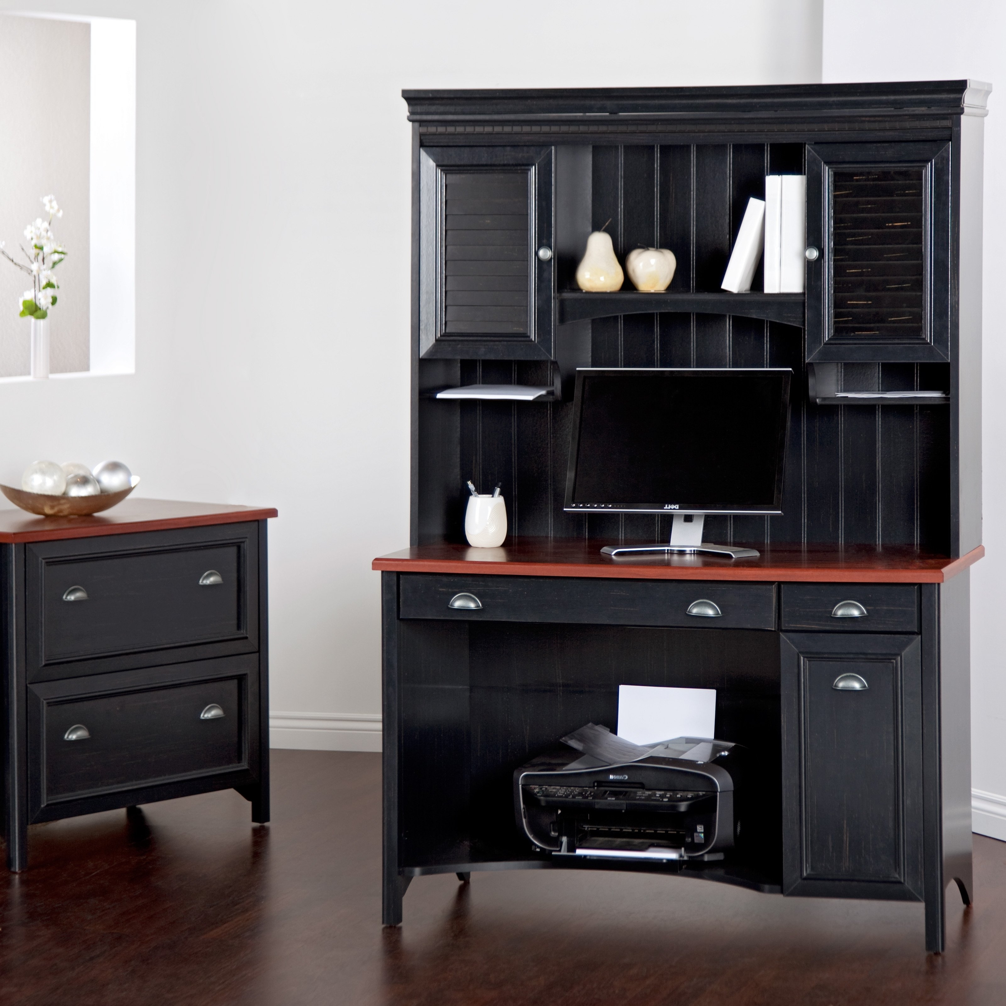 Most Current Tall Computer Desks In Tall Black Wooden Computer Desk With Brown Wooden Top And Black (View 4 of 20)