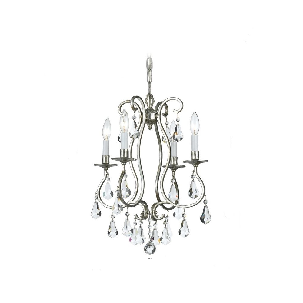 Most Current Tiny Chandeliers In Lighting: Crystal Mini Chandelier In Old Silver Finish With Modern (View 9 of 20)
