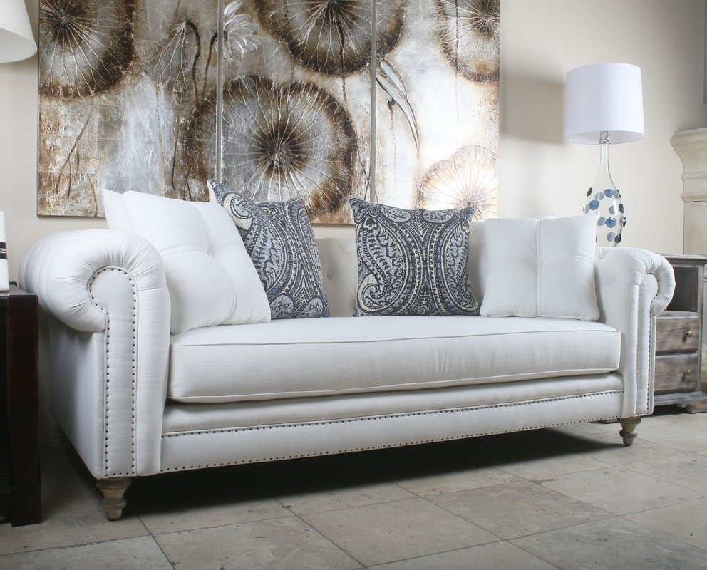 Most Current Tufted Linen Sofas With Regard To South Cone Home Hanover Tufted Linen Chesterfield Sofa & Reviews (Gallery 10 of 20)