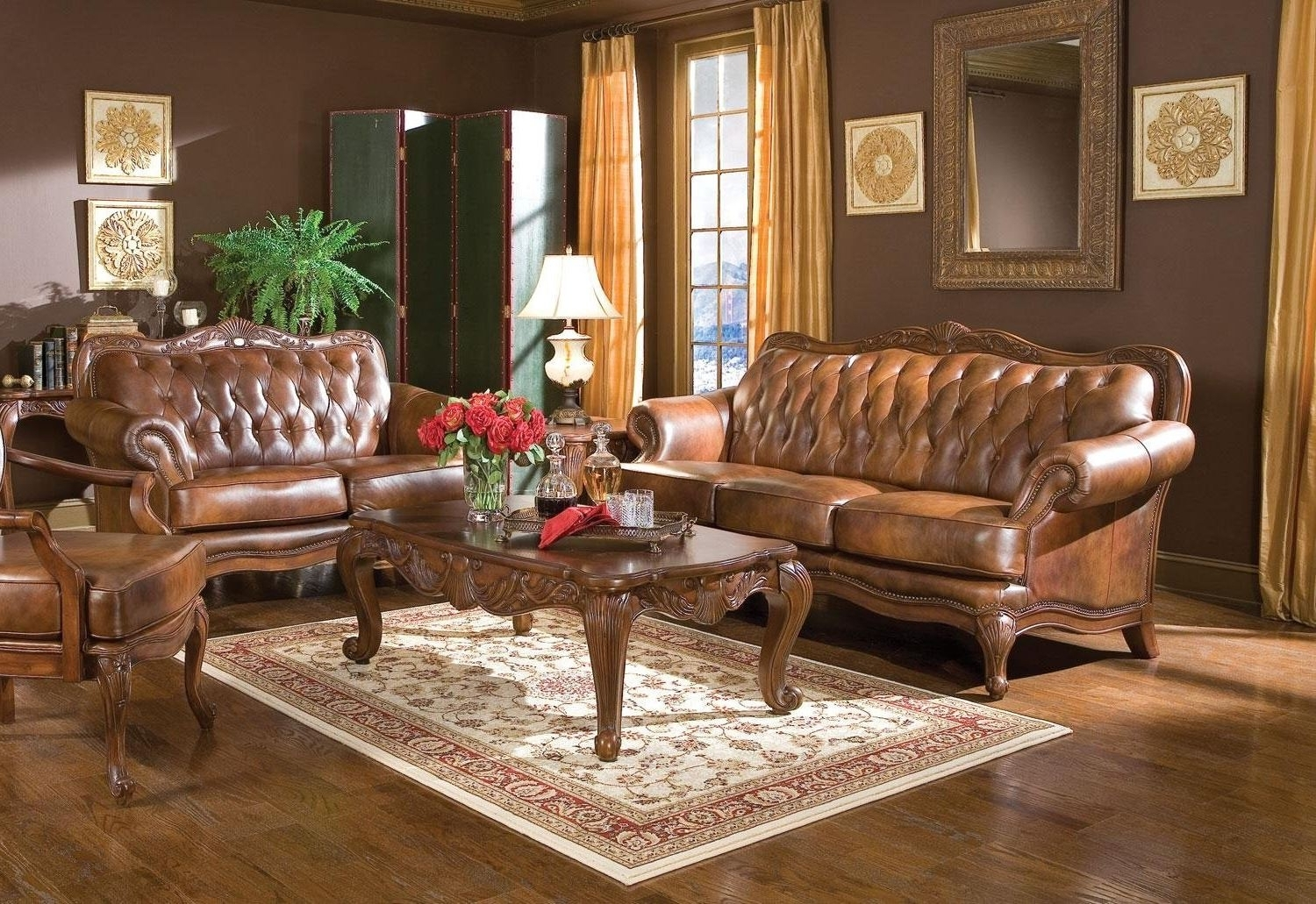 Most Current Tufted Victorian Leather Sofa Style Brown & Love Seat With Victorian Leather Sofas (View 10 of 20)