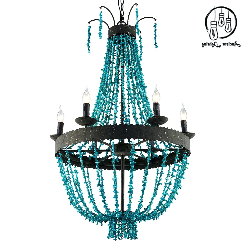 Most Current Turquoise Beads Six Light Chandeliers Inside Chandeliers ~ Blue Beaded Chandelier Turquoise Beads Six Light (View 8 of 20)