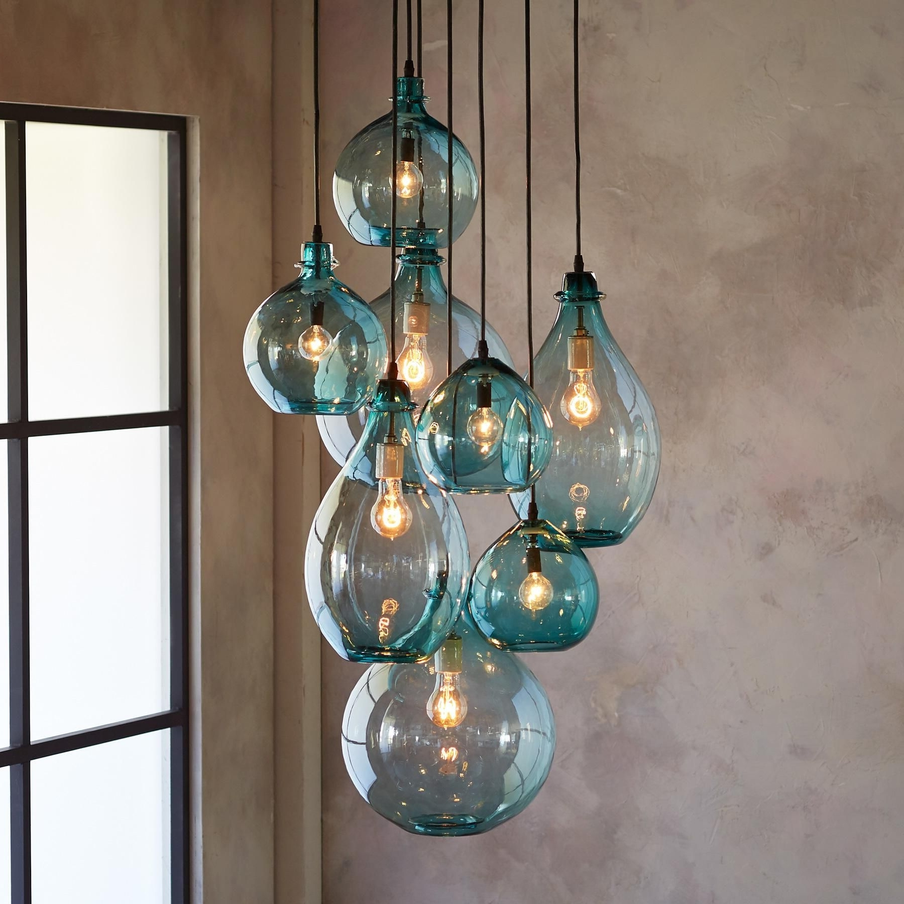 Most Current Turquoise Glass Chandelier Lighting With Salon Glass Pendant Canopy — Limpid Turquoise Drops Of Hand Blown (View 10 of 20)