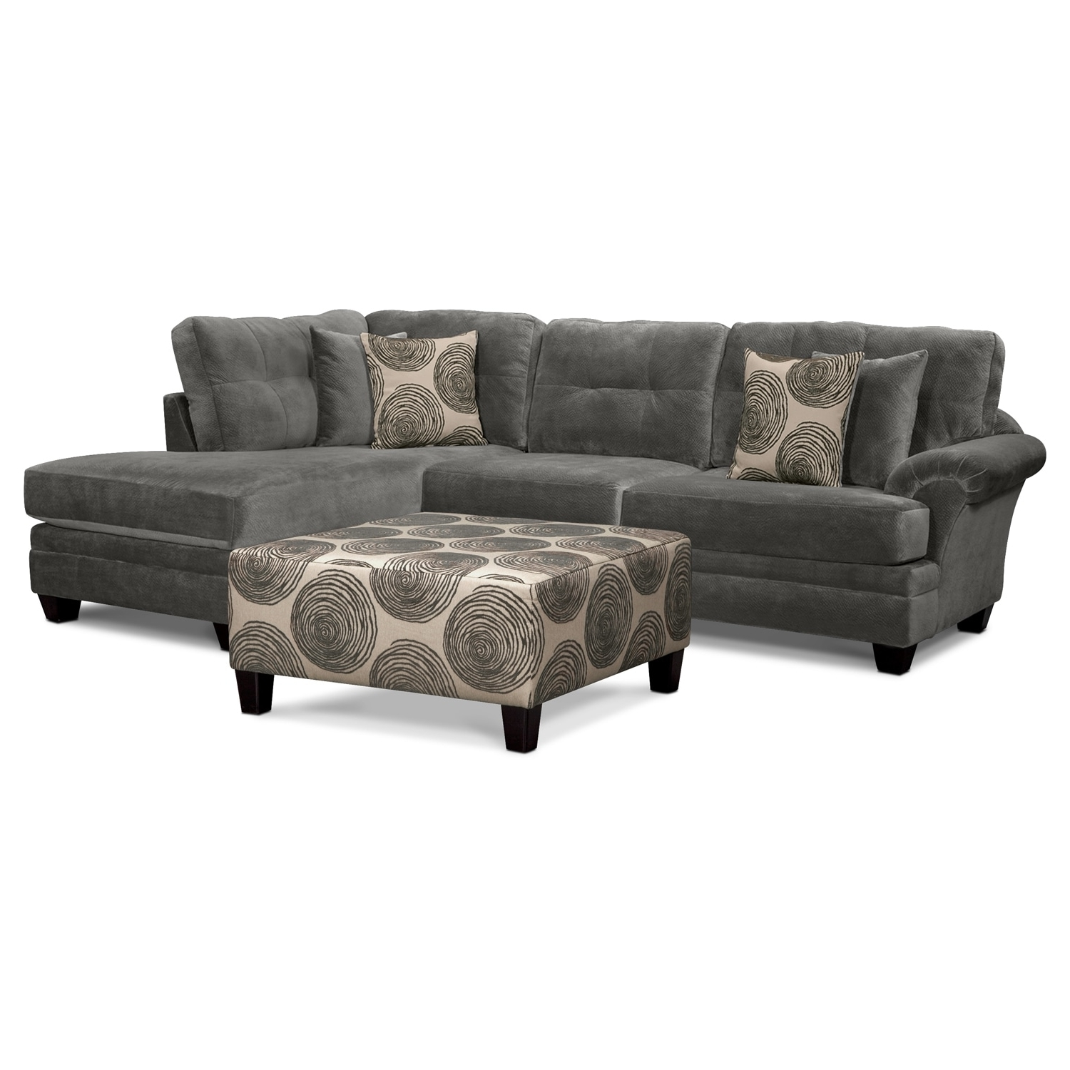 Most Current Value City Sectional Sofas For The Cordelle Sectional Collection – Gray (View 6 of 20)