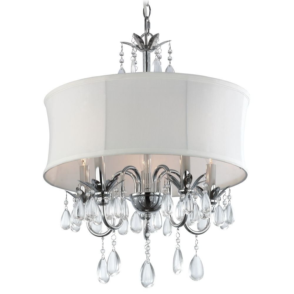 Most Current White And Crystal Chandeliers With Regard To White Drum Shade Crystal Chandelier Pendant Light (View 6 of 20)