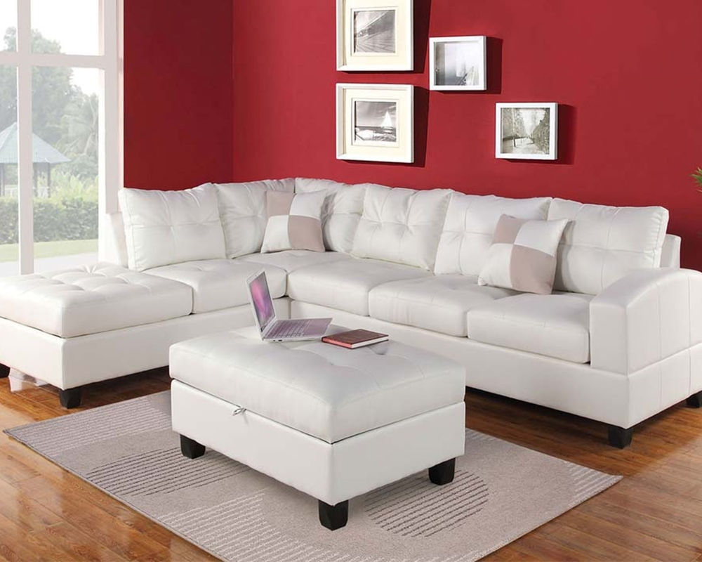 Most Current White Sectional Sofa Set Kivaacme Furniture Ac51175Set Intended For White Sectional Sofas (View 17 of 20)