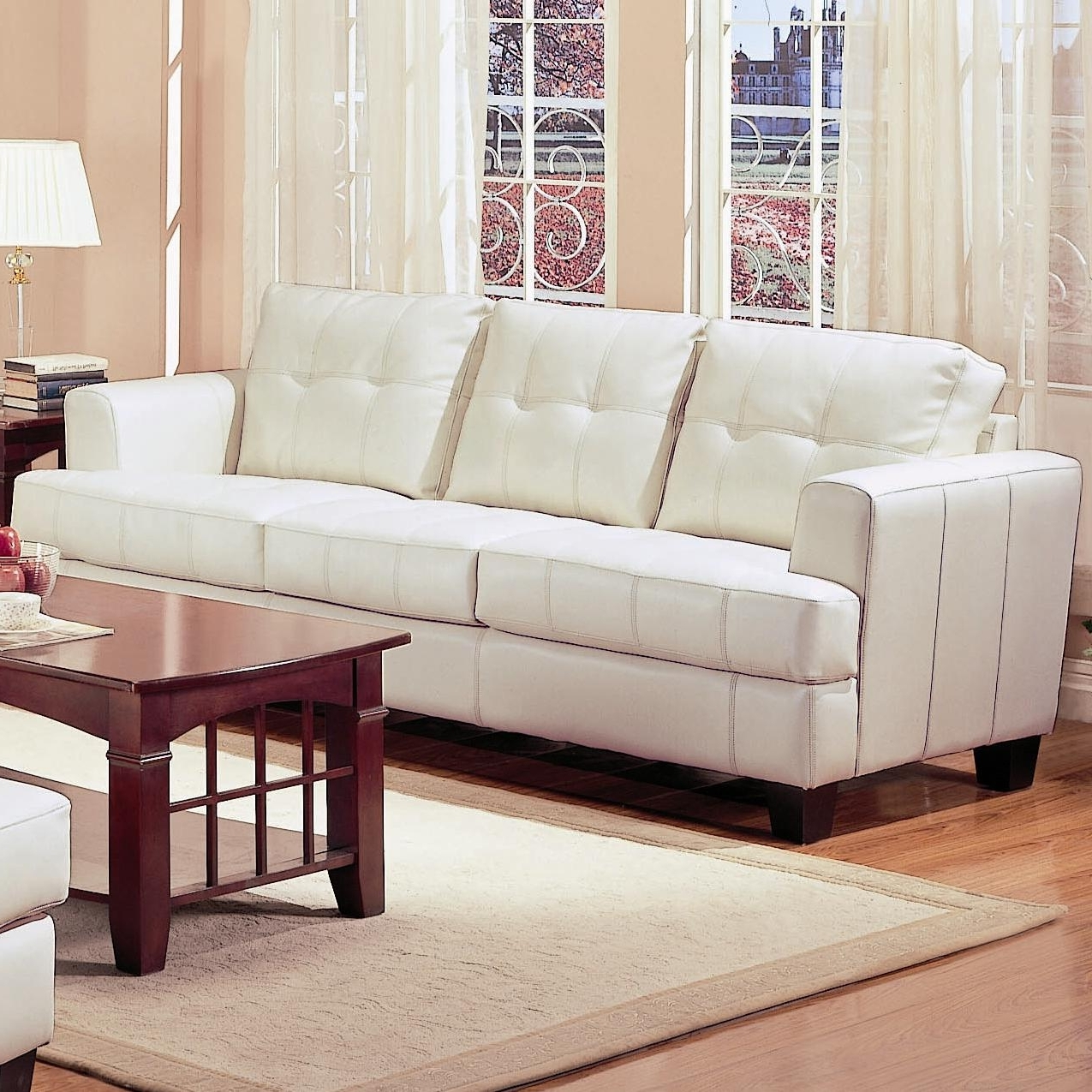 Most Current White Sofa Chairs Regarding Samuel Beige Leather Sofa – Steal A Sofa Furniture Outlet Los (View 20 of 20)