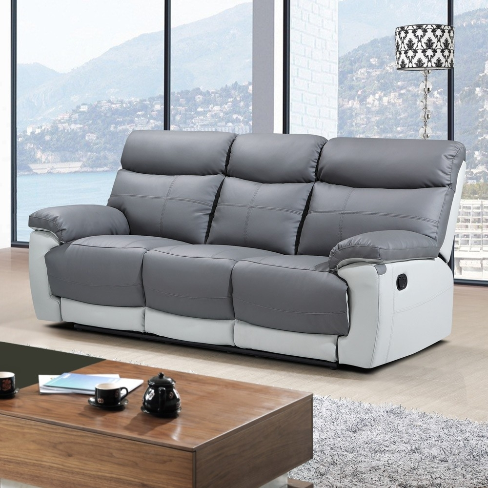 Most Popular 2 Seater Recliner Leather Sofas For Stirling Slate Grey Leather Recliner Collection With Pebble Grey Trim (View 12 of 20)