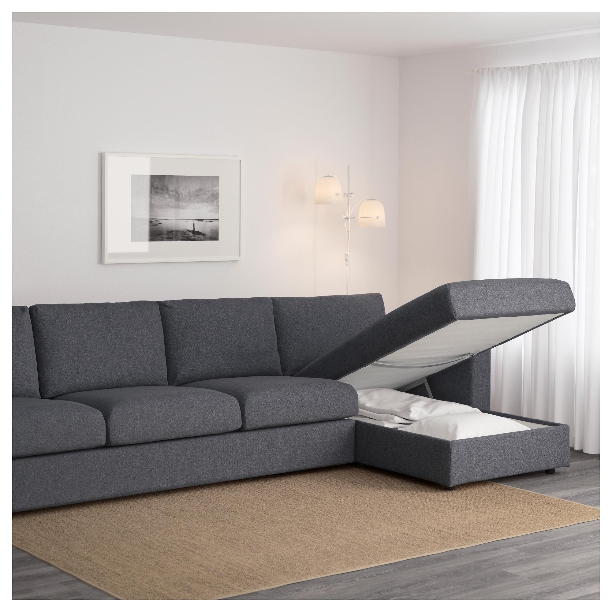 Most Popular 4 Seater Sofas Regarding Vimle 4 Seat Sofa With Chaise Longue/gunnared Medium Grey – Ikea (View 14 of 20)