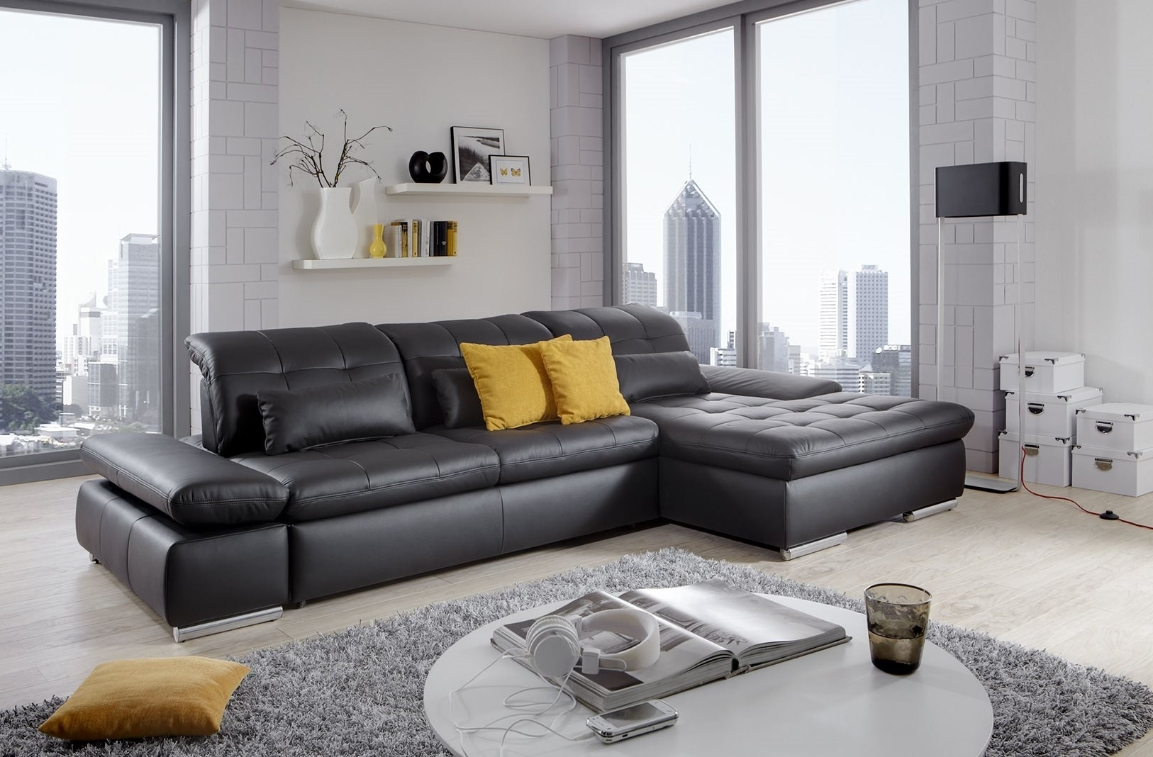 Most Popular Alpine Sectional Sofa In Black Leather Left Chaise With Regard To Trinidad And Tobago Sectional Sofas (View 5 of 20)