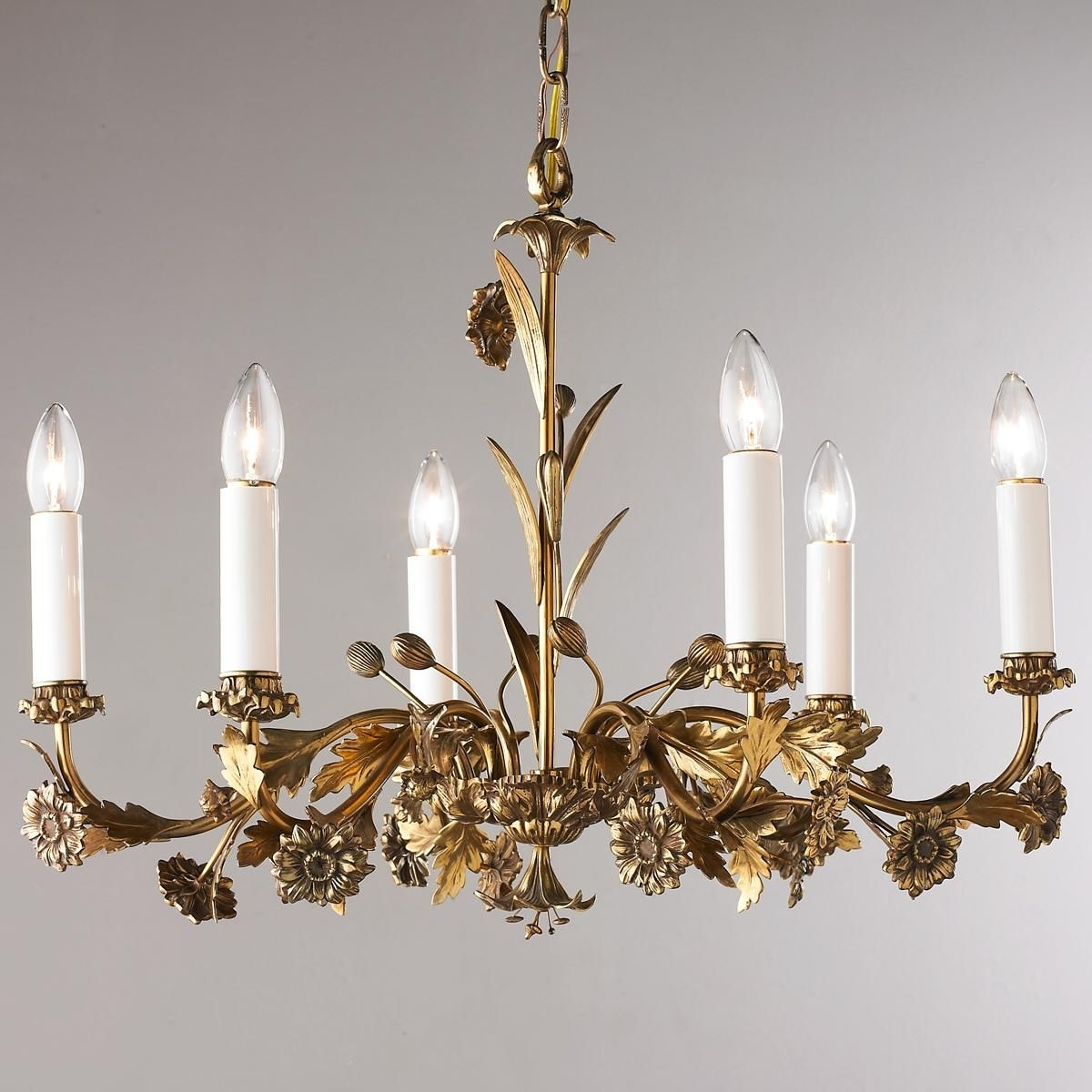 Most Popular Antique 6 Arm Floral Brass Chandelier (View 13 of 20)