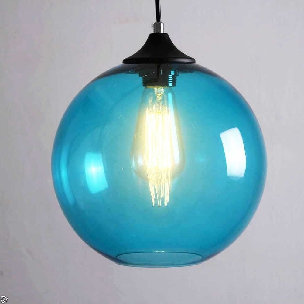 Most Popular Blue Glass Clear Lampshade Ceiling Vintage Retro Chandelier Pendant In Turquoise Blue Glass Chandeliers (View 20 of 20)