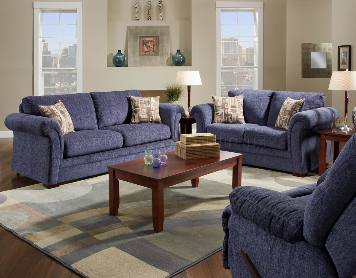 Most Popular Casual Sofas And Chairs Pertaining To Plush Blue Fabric Casual Modern Living Room Sofa & Loveseat Set (View 4 of 20)