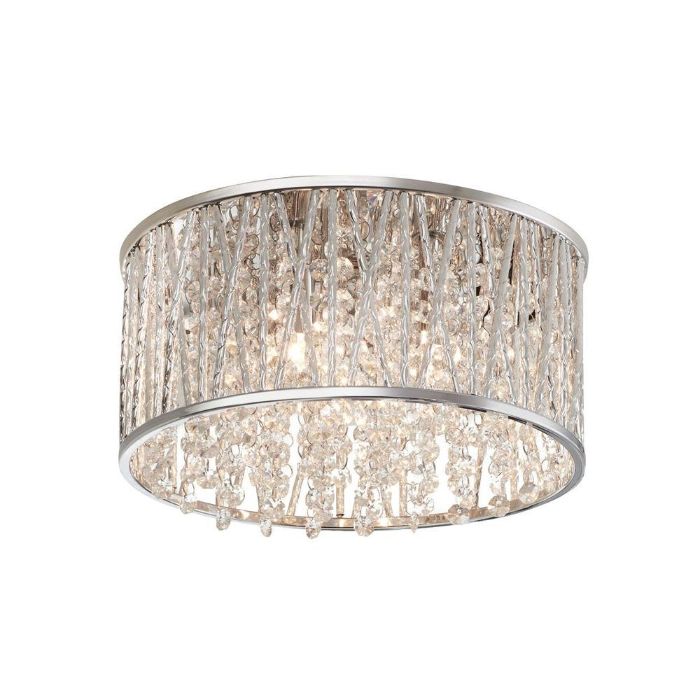 Most Popular Chrome – Flushmount Lights – Lighting – The Home Depot For Wall Mount Crystal Chandeliers (View 8 of 20)