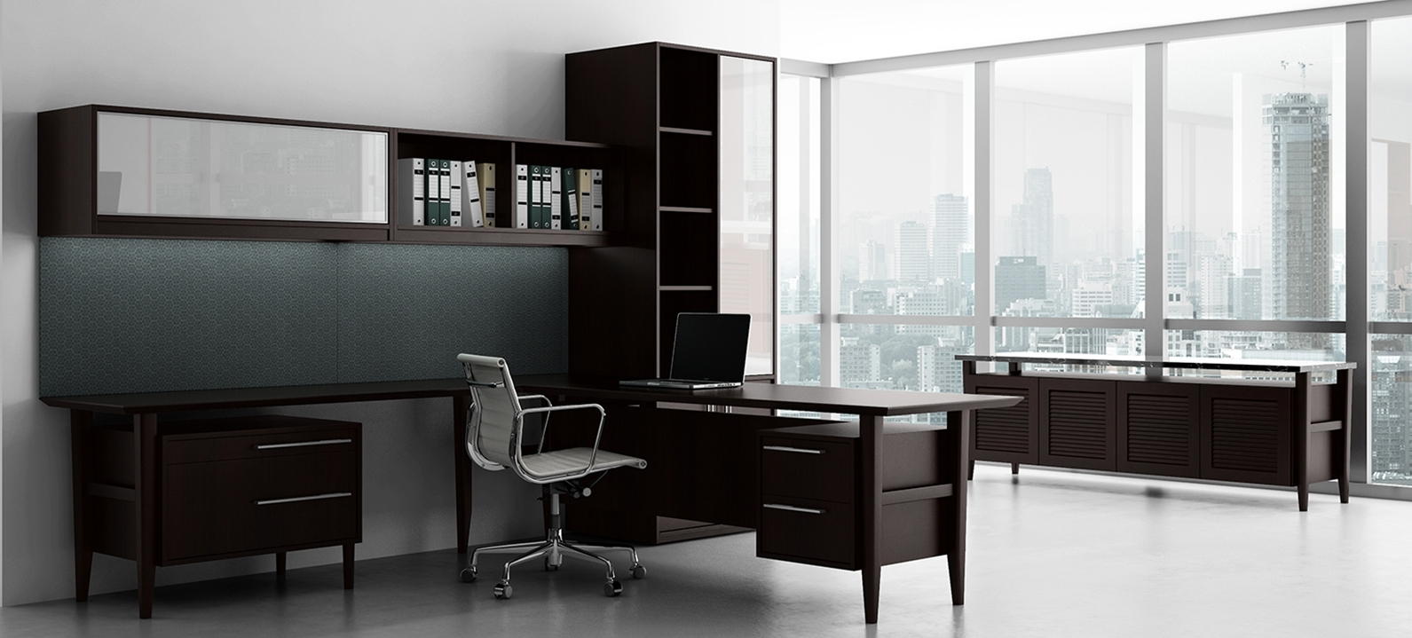Most Popular Contemporary Executive Office Chairs Pertaining To Retro Modern Contemporary Wood Desk – Ambience Doré (View 13 of 20)