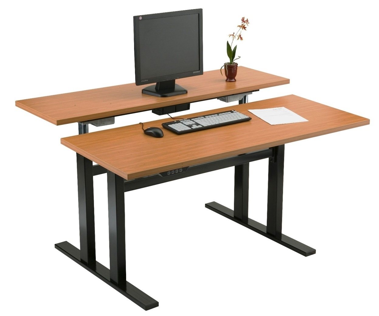 Most Popular Ergonomic Computer Desks Pertaining To Mobile Adjustable Height Computer Workstation With Caster Wheels (View 12 of 20)
