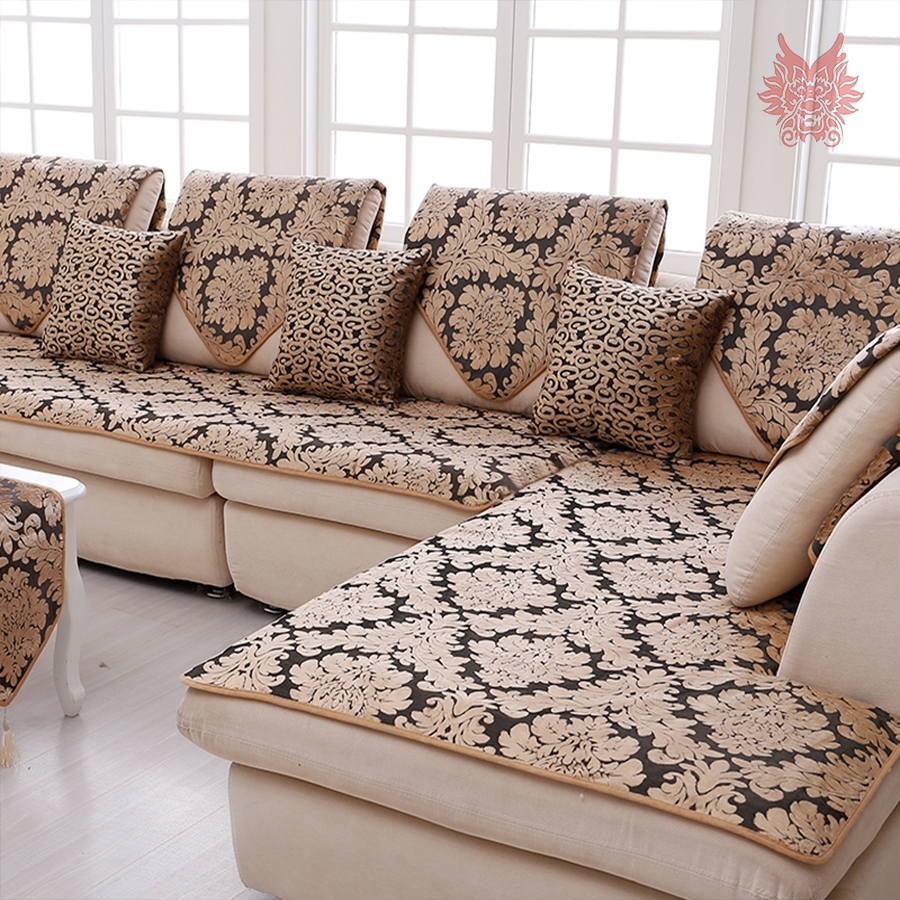 Most Popular Europe Black Gold Floral Jacquard Terry Cloth Sofa Cover Plush  Throughout Sectional Sofas From