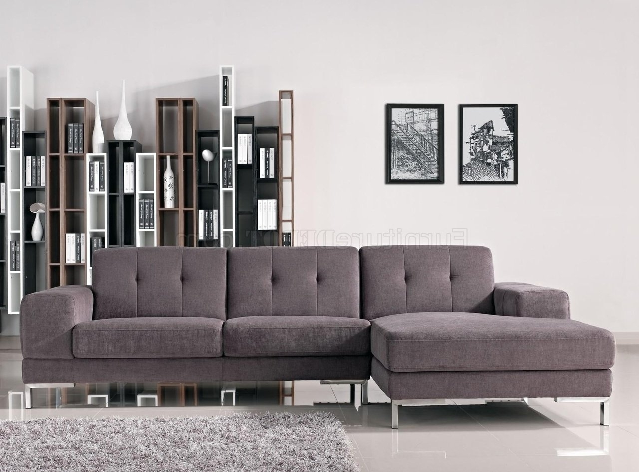 Most Popular Forli Sectional Sofa In Grey Fabric 1071Bvig W/metal Legs Regarding Dania Sectional Sofas (View 12 of 20)