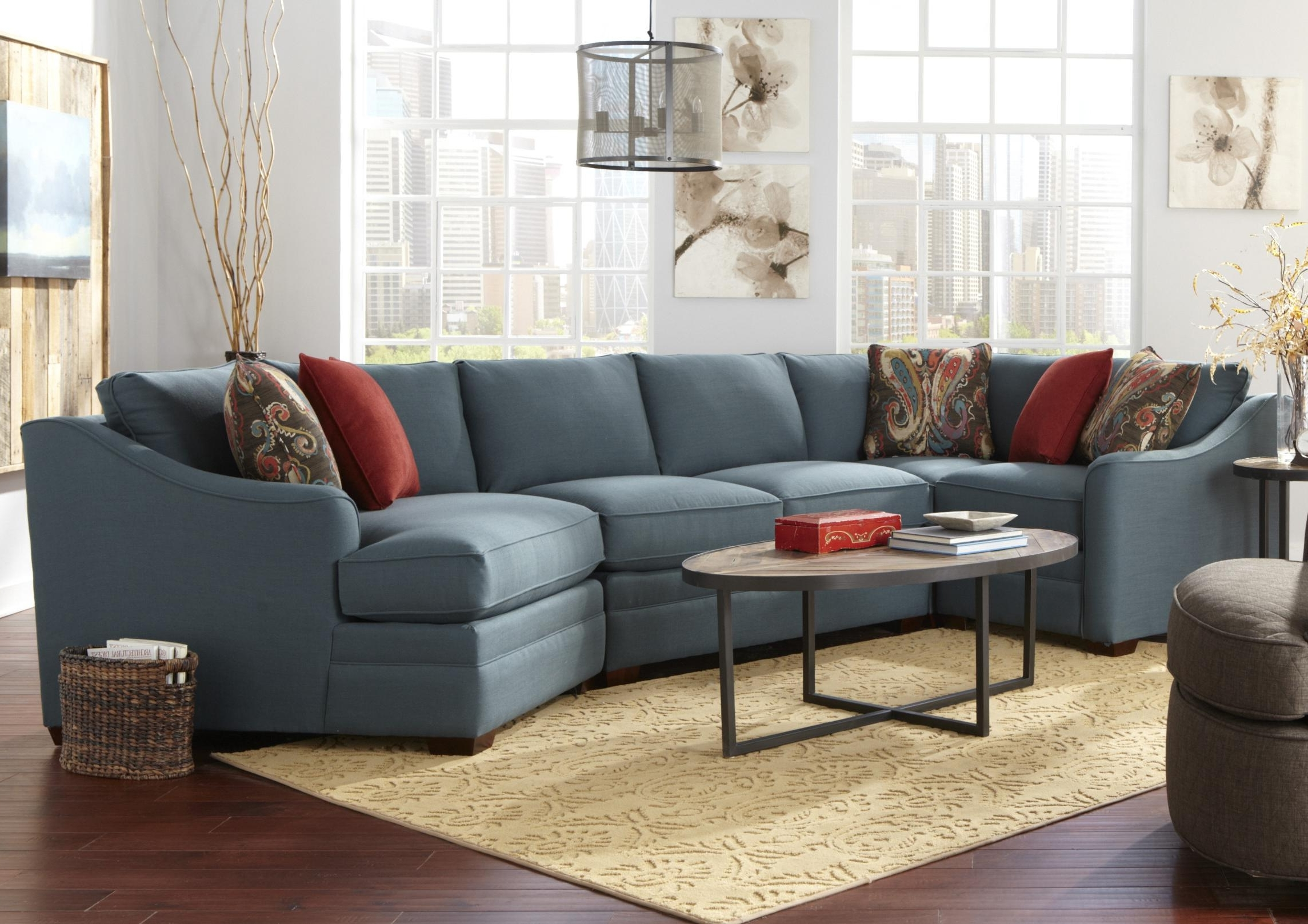 Most Popular Four Piece <B>Customizable</b> Sectional Sofa With Raf Cuddler Pertaining To Custom Made Sectional Sofas (View 12 of 20)