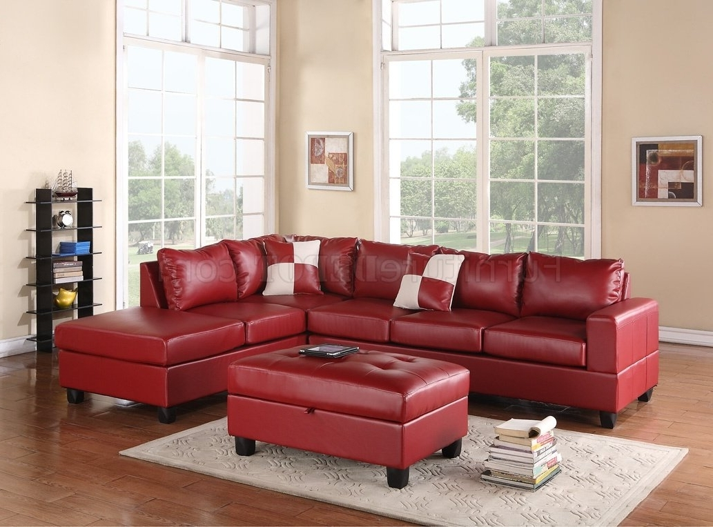 Most Popular G309 Sectional Sofa In Red Bonded Leatherglory W/ottoman Intended For Red Leather Couches For Living Room (View 19 of 20)