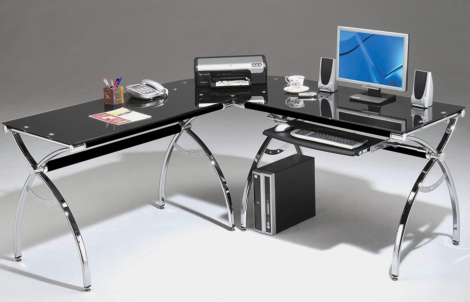 Most Popular Glass Corner Computer Desks With L Shaped Glass Corner Computer Desk Silver Clear – Best Way To (View 13 of 20)