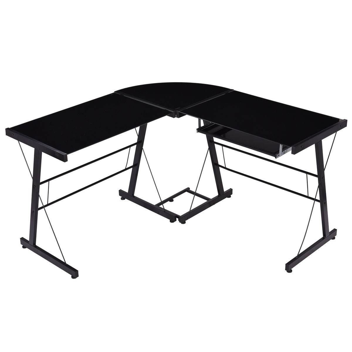 Most Popular Glass Corner Computer Desks Within Home L Shape Computer Desk Pc Laptop Table Glass Top Workstation (View 17 of 20)
