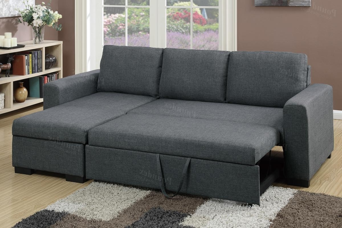 Most Popular Grey Fabric Sectional Sofa Bed – Steal A Sofa Furniture Outlet Los Throughout Sectional Sofas That Turn Into Beds (View 6 of 20)
