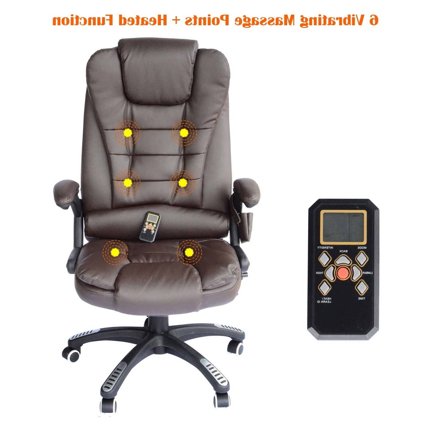 Most Popular Homcom Heated Ergonomic Massage Chair Swivel High Back Leather Intended For Leather Executive Office Massage Chairs (View 7 of 20)