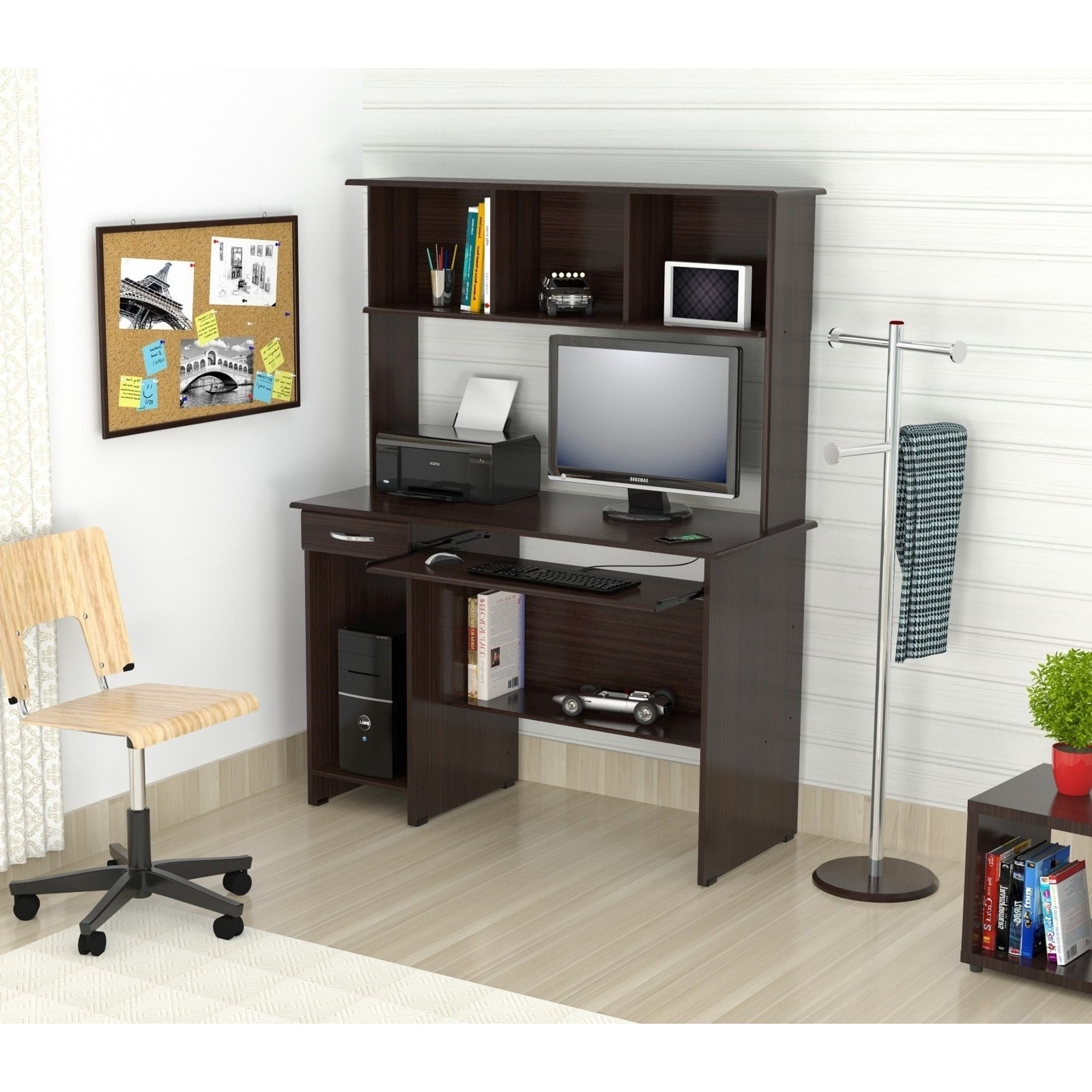 Most Popular Inval Espresso Wenge Computer Work Center With Hutch – Free Throughout Espresso Computer Desks (View 12 of 20)