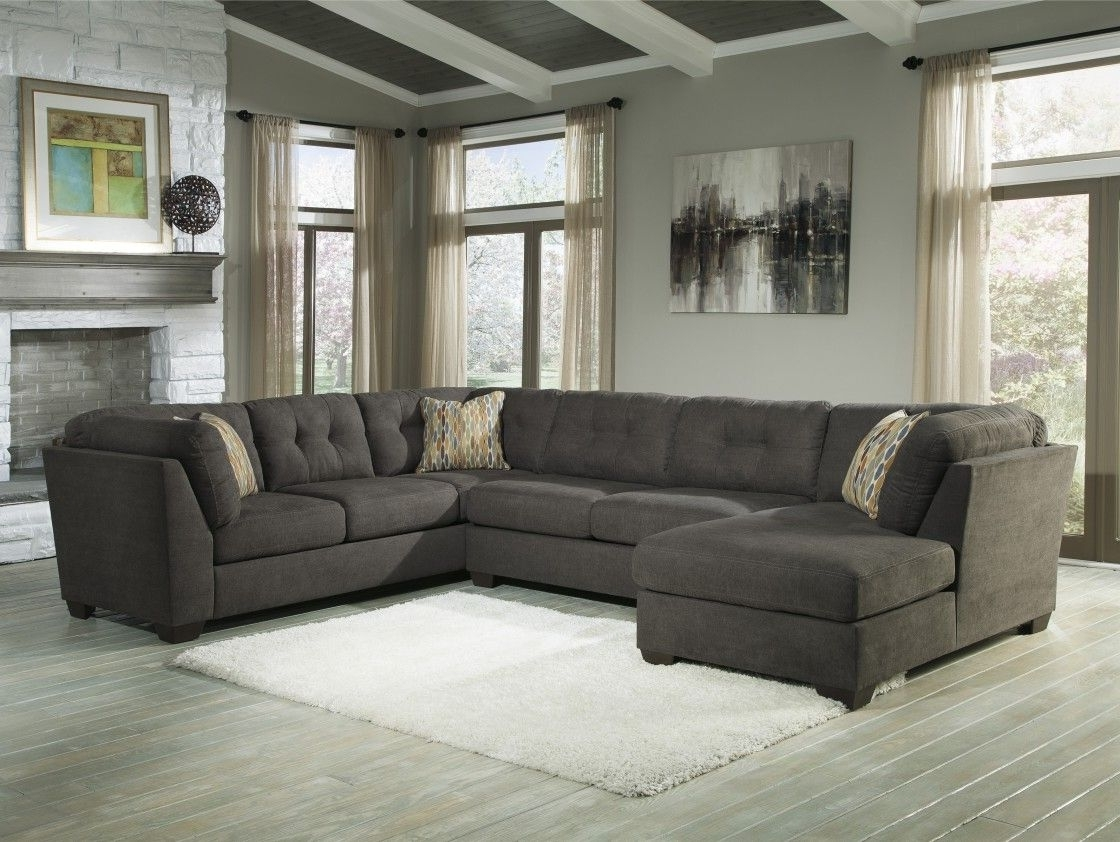 Most Popular Ivan Smith Sectional Sofas In Best Quality Dark Grey Fabric Upholstery U Shaped Sectional Sofa (View 13 of 20)