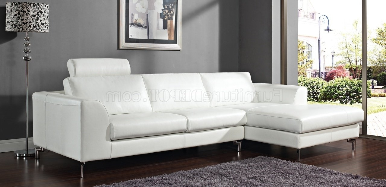 Most Popular Michigan Sectional Sofas Pertaining To Angela Sectional Sofa In White Leatherwhiteline (View 12 of 20)
