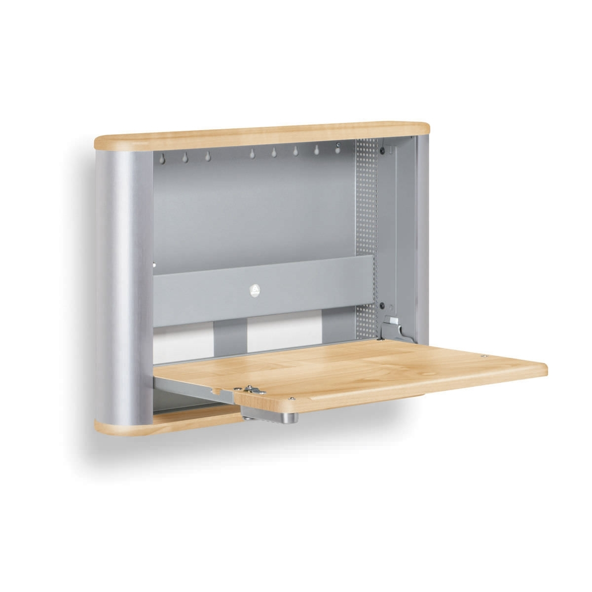 Most Popular Modern Minimalist Wall Mounted Foldable Desk Design With Wooden Intended For Wall Computer Desks (View 10 of 20)