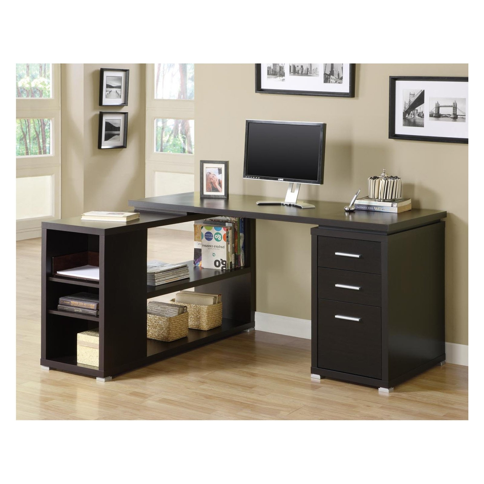 Most Popular Monarch Cappuccino Hollow Core L Shaped Computer Desk – Walmart Inside L Shaped Computer Desks (View 15 of 20)