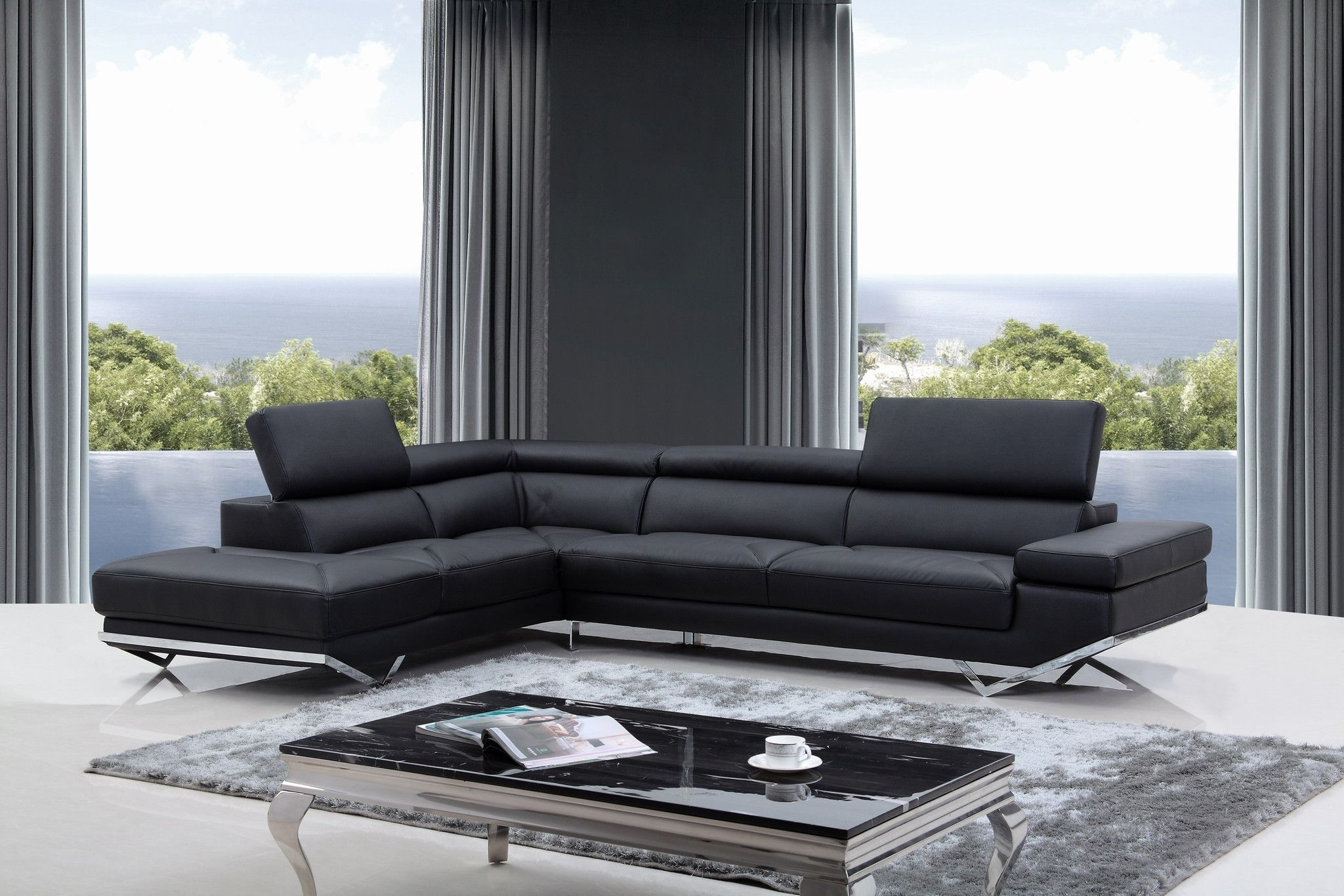 Most Popular Quebec Sectional Sofas Intended For Divani Casa Quebec Modern Black Eco Leather Sectional Sofa (View 7 of 20)