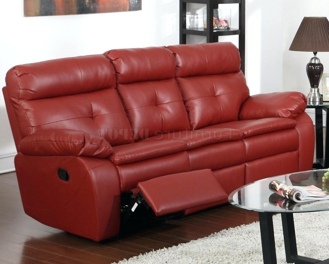 Most Popular Red Leather Recliner Red Faux Leather Reclining Sofa Red Leather With Red Leather Reclining Sofas And Loveseats (View 14 of 20)