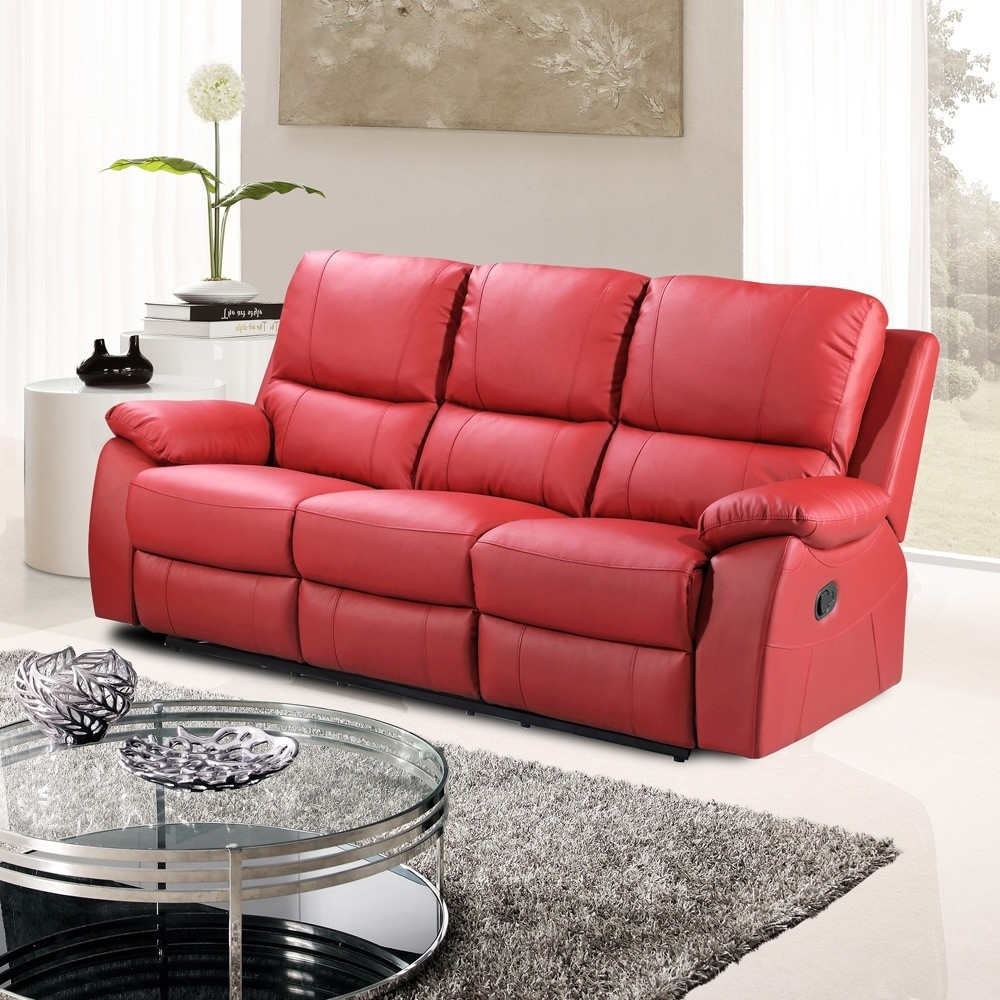 Most Popular Red Leather Reclining Sofas And Loveseats For Interior : Cameo Red Sofa Leather Interior Furniture Bed Asda (View 9 of 20)