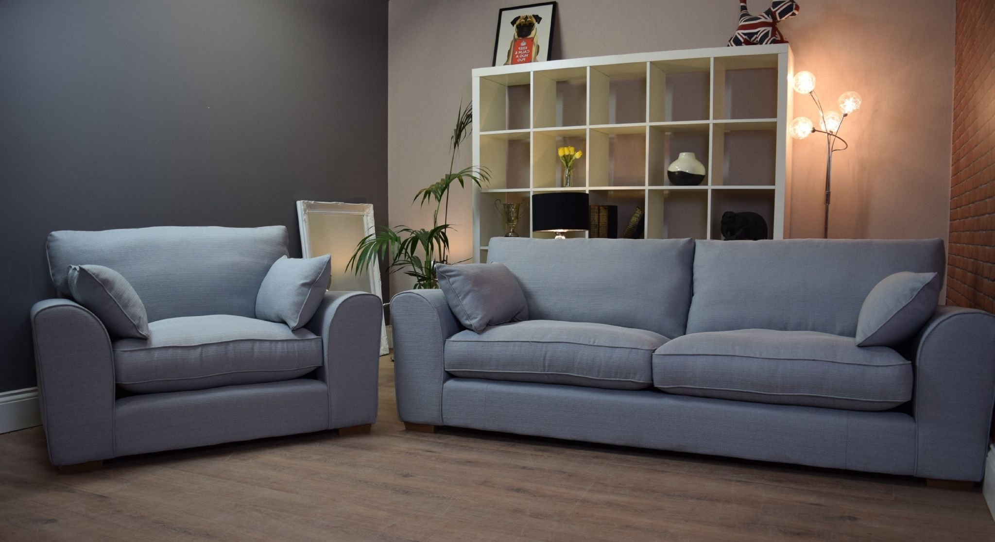 Most Popular Set New Ashdown 3 Seater Sofa & Cuddle Chair Set – Duck Egg Blue Intended For 3 Seater Sofas And Cuddle Chairs (View 13 of 20)