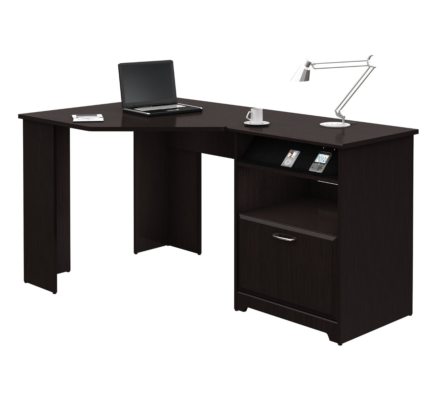 Most Popular Small Corner Wood Home Office Desk Painted With Black Color With Intended For Black Computer Desks (View 13 of 20)