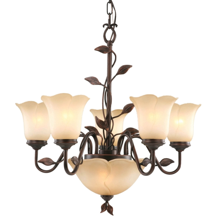 Most Popular Traditional Chandelier Inside Shop Allen + Roth 7 Light Bronze Traditional Chandelier At Lowes (View 14 of 20)