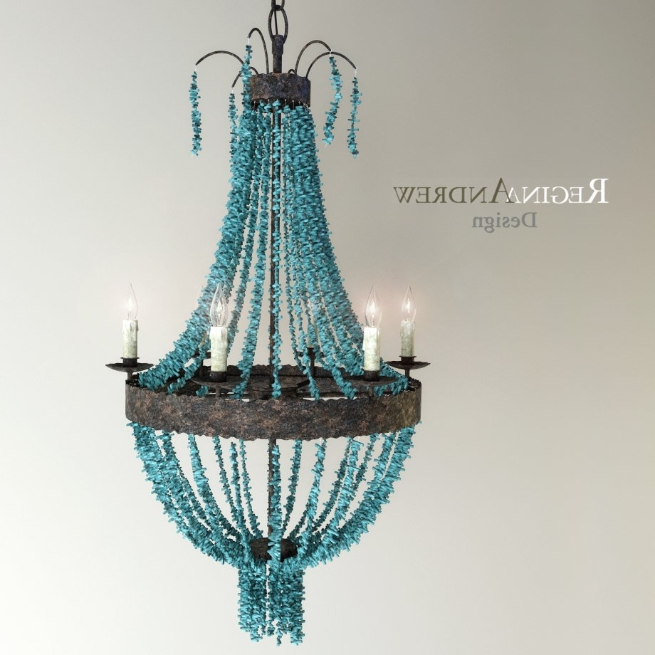 Featured Photo of Turquoise Beads Six Light Chandeliers