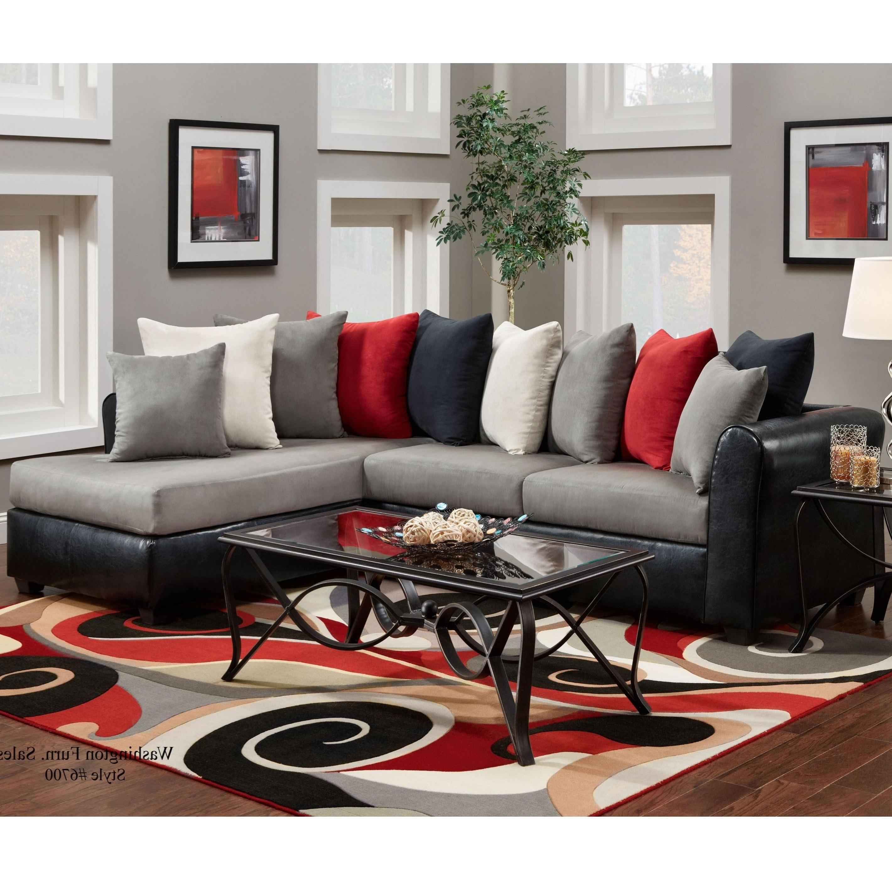 Most Popular Washington Furniture 6700 Sectional With Rsf Chaise And Pillow Inside Phoenix Sectional Sofas (View 10 of 20)