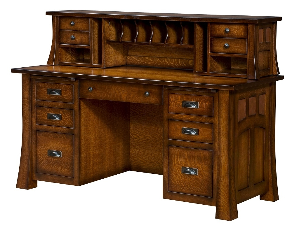Most Recent Amish Computer Desk Hutch Topper Solid Wood Home Office Furniture For Computer Desks With Drawers (View 12 of 20)