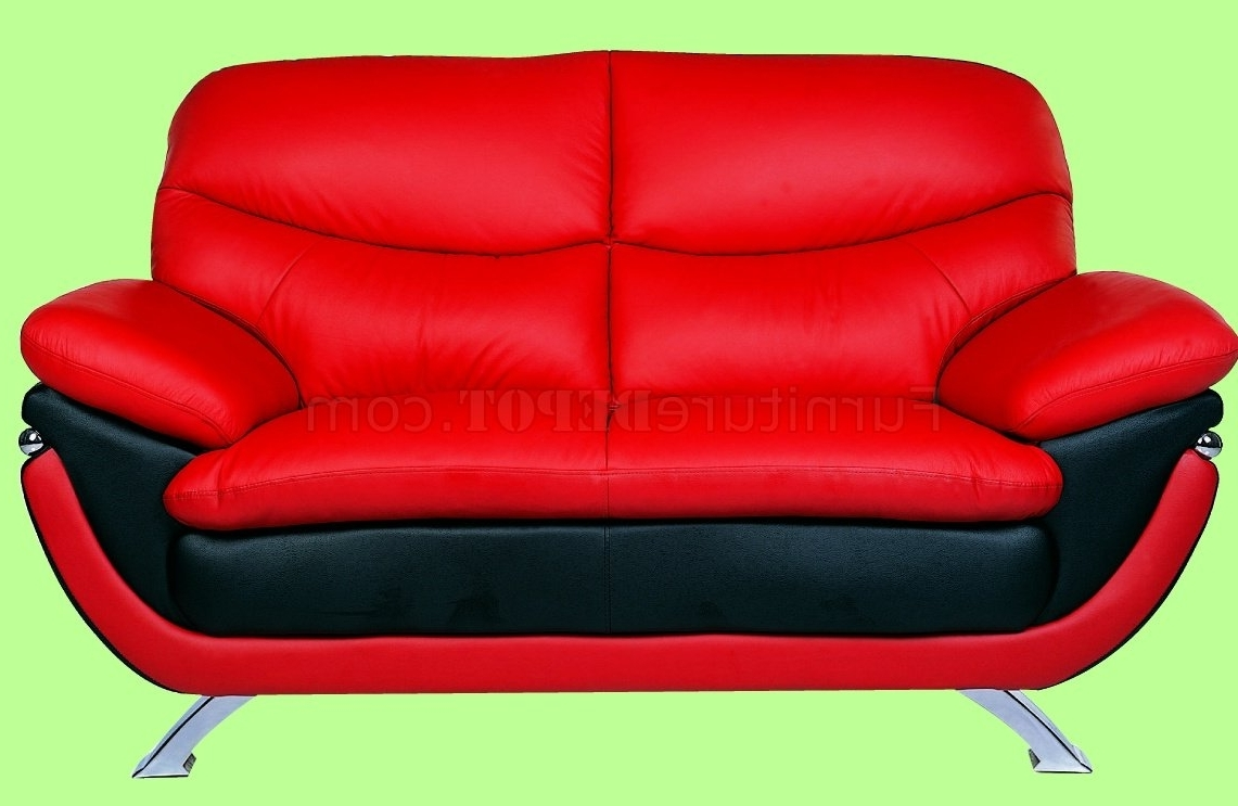 Most Recent And Red Top Grain Leather Upholstery Sofa Within Red Sofa Chairs (View 12 of 20)
