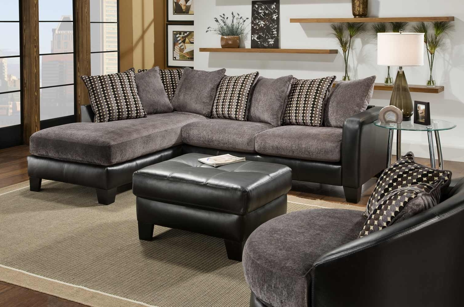 Most Recent Black Leather Sectionals With Ottoman Intended For Fascinating Picture Of Living Room Decoration Using L Shape (View 13 of 20)