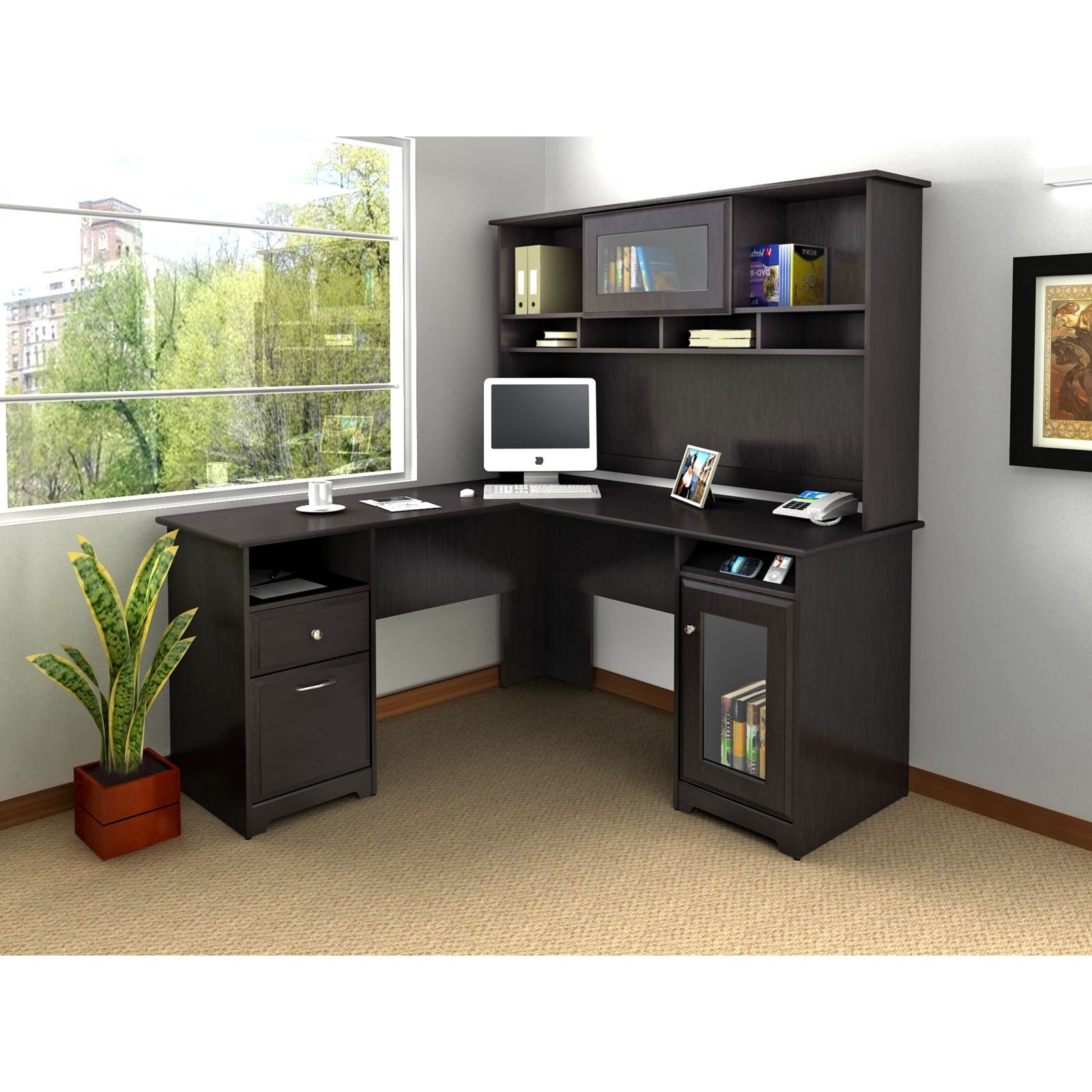 Most Recent Bush Cabot L Shaped Desk With Optional Hutch (View 13 of 20)
