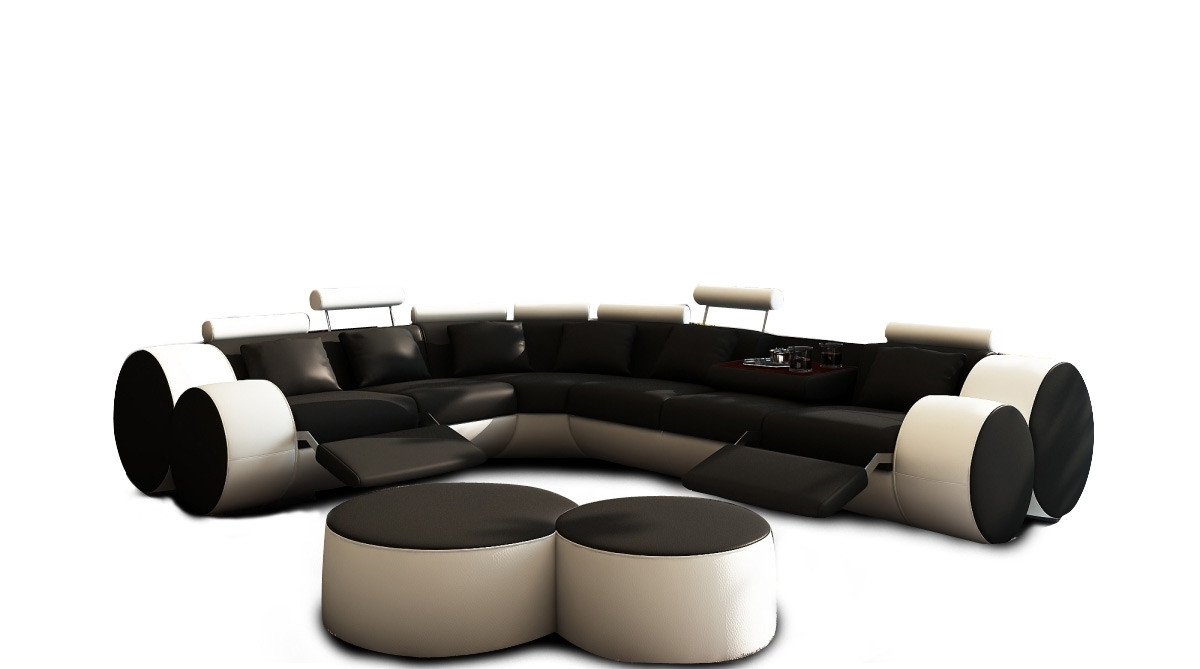 Most Recent Casa 3087 – Modern Black And White Leather Sectional Sofa & Ottomans With Regard To Black Leather Sectionals With Ottoman (View 14 of 20)