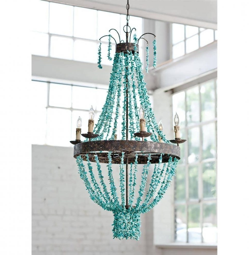 Most Recent Chandeliers Design : Fabulous Make Chandelier Turquoise Blue Multi Throughout Turquoise Blue Beaded Chandeliers (View 10 of 20)