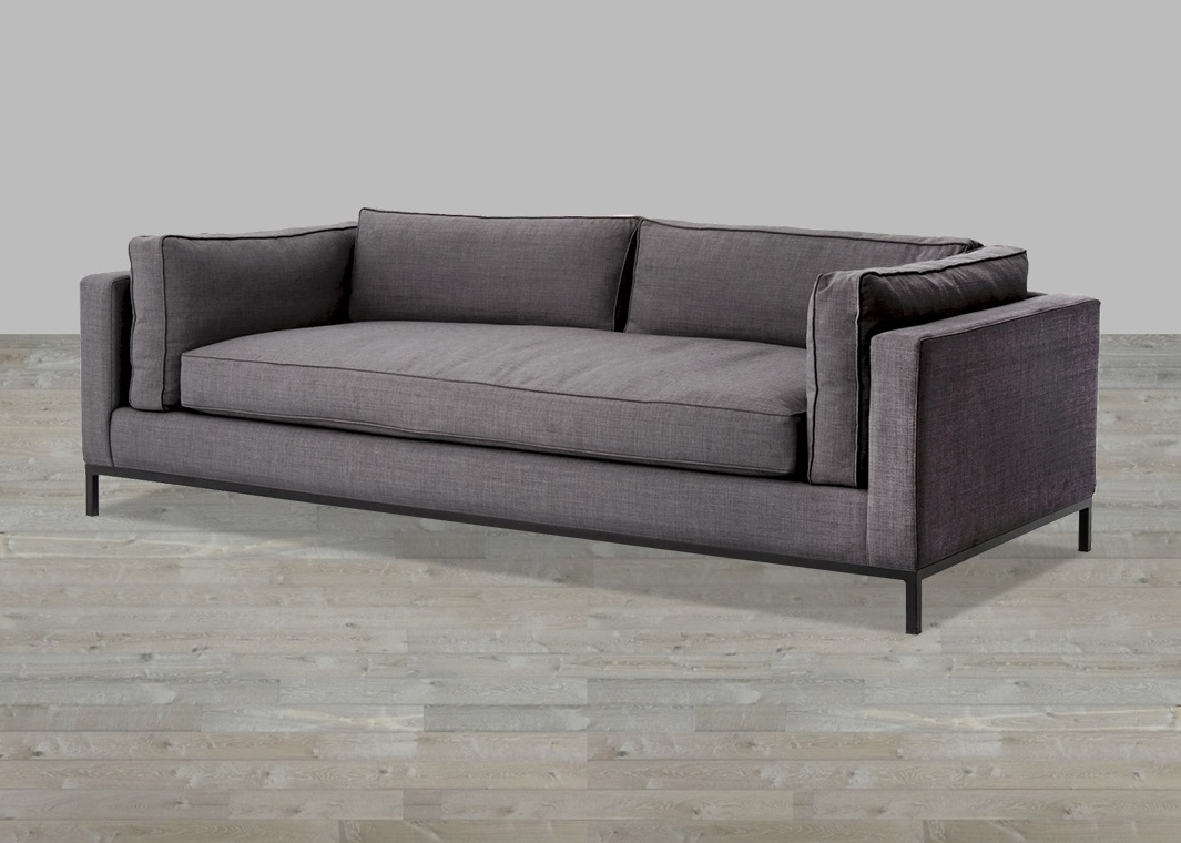 Most Recent Charcoal Linen Sofa With Single Seat Cushion Inside Single Sofas (View 10 of 20)