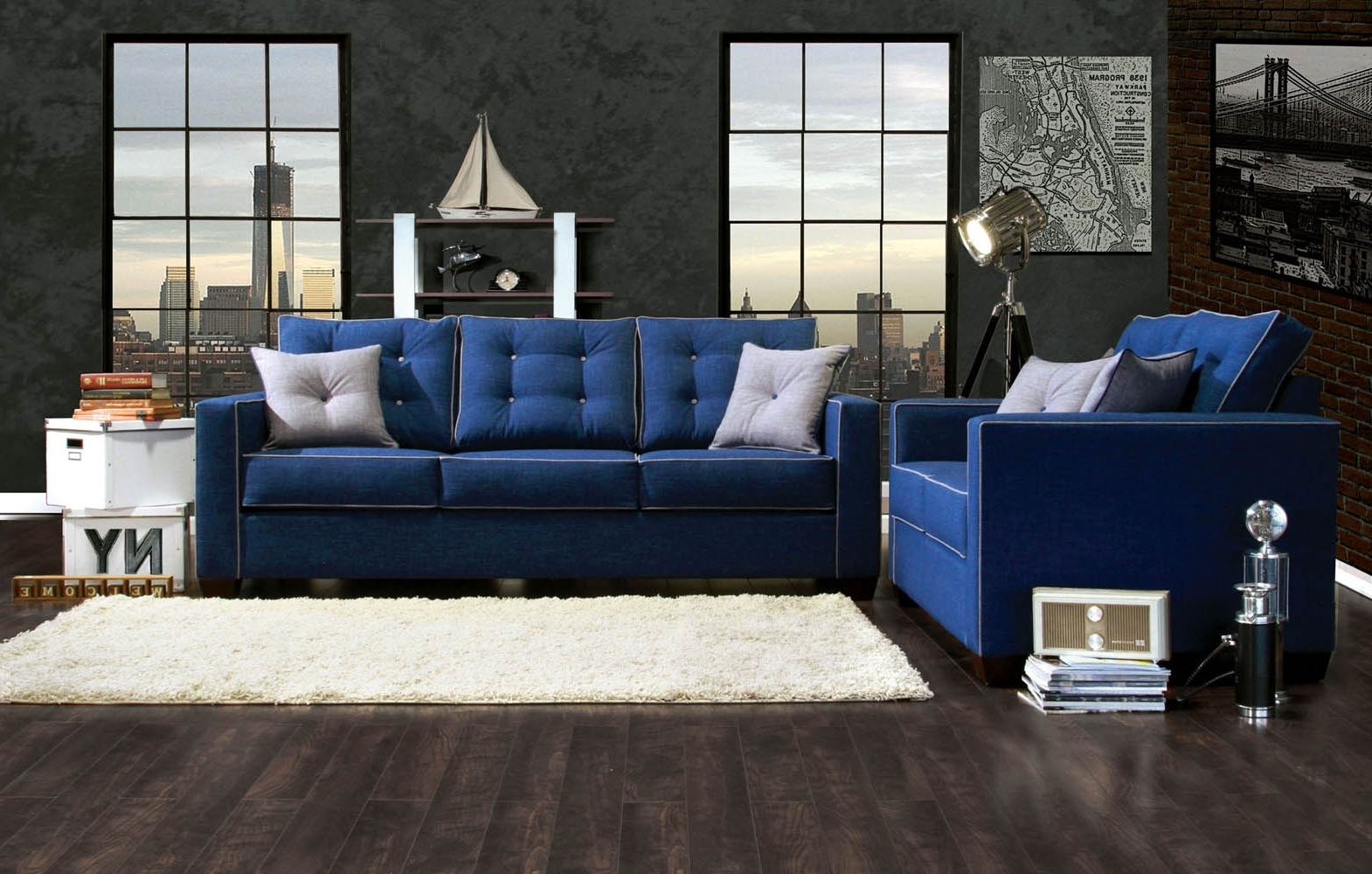 Most Recent Dark Blue Sofas Intended For Blue Sofa Living Room Ideas With Wall Brick Decor And Dark Wooden (View 13 of 20)