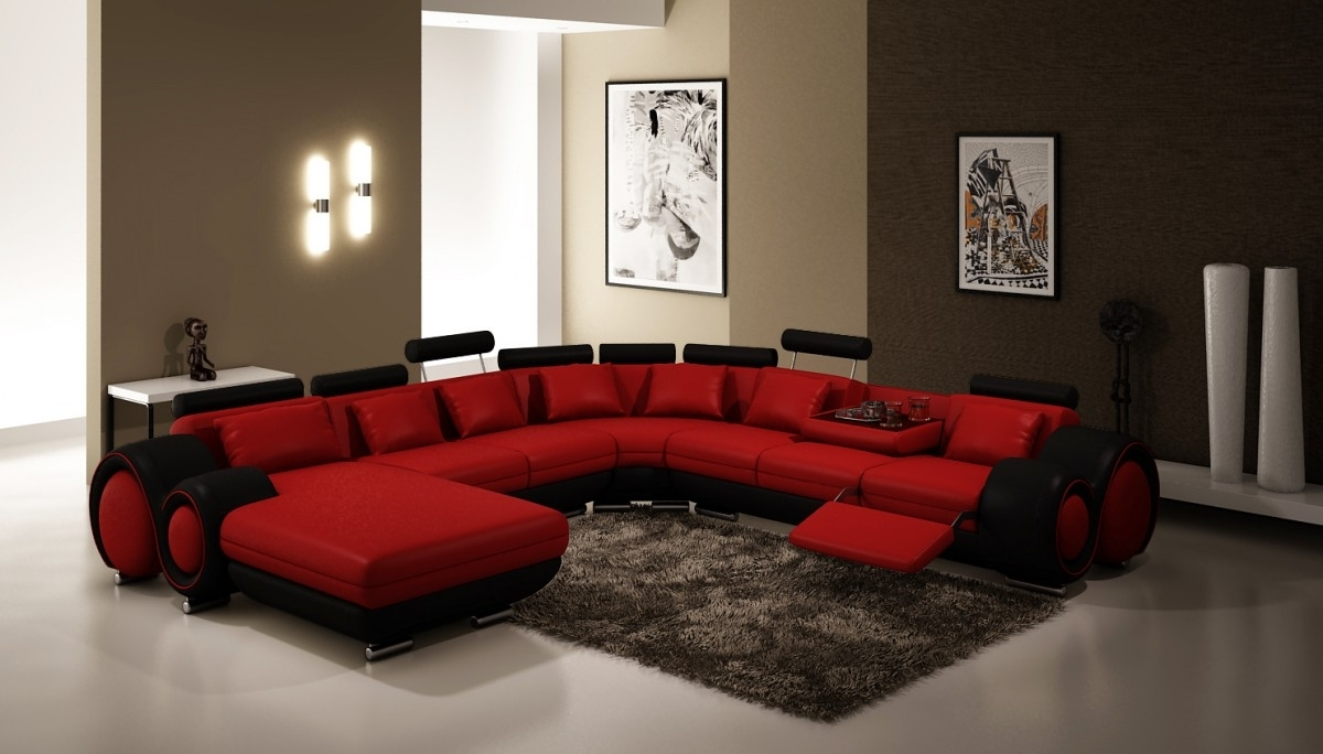 Most Recent Divani Casa 4084 Contemporary Red And Black Sectional Sofa Throughout Red Black Sectional Sofas (View 5 of 20)