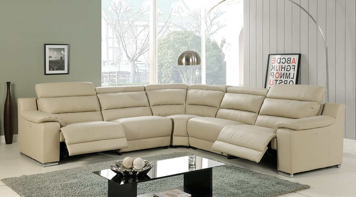 Most Recent Elda Beige Italian Leather Sectional Sofaat Home In Beige Sectional Sofas (View 15 of 20)